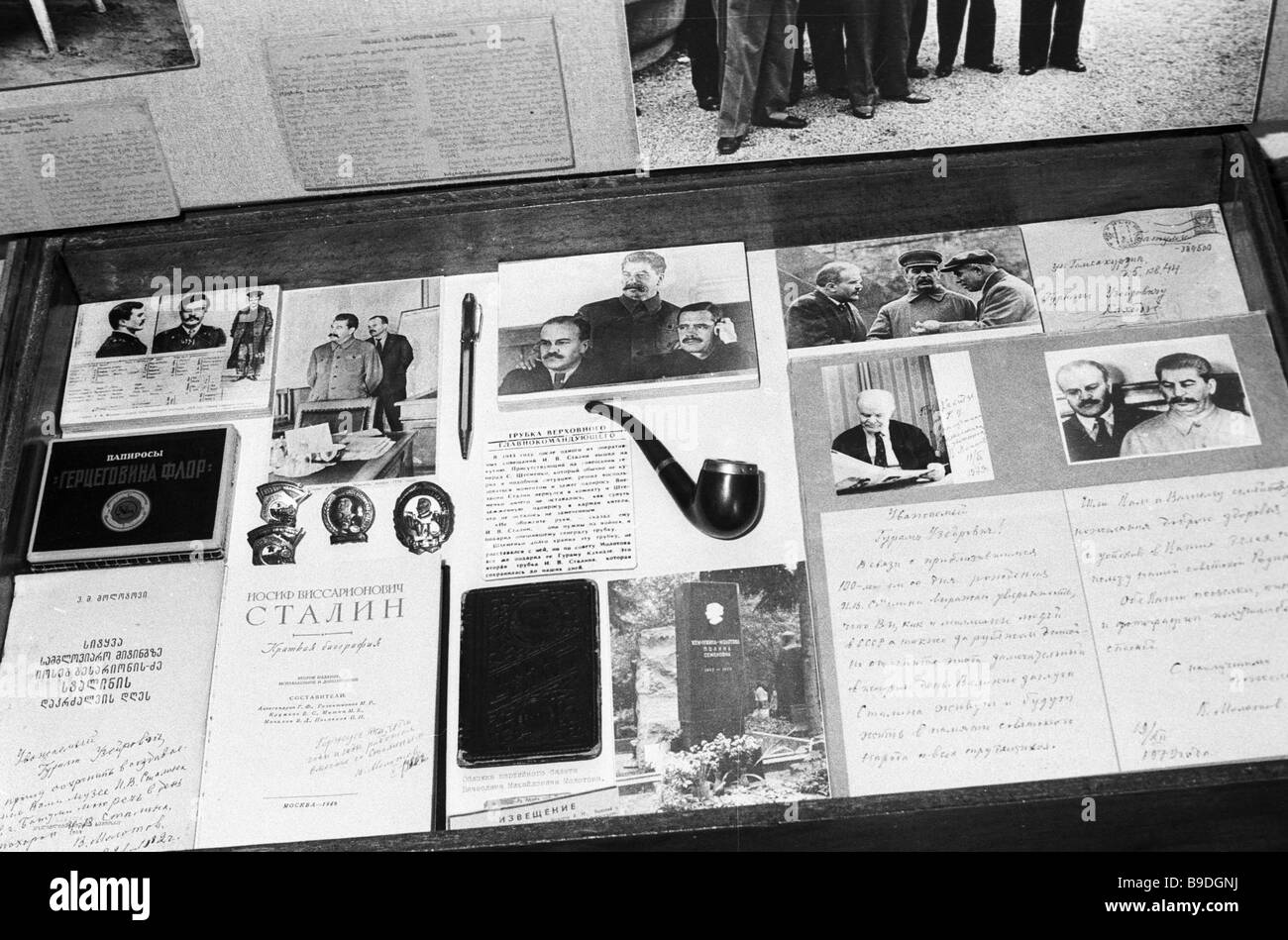 Exhibits of his Stalin cult of personality museum established by Docker Guram Kakhidze of the Batumi port - Stock Image