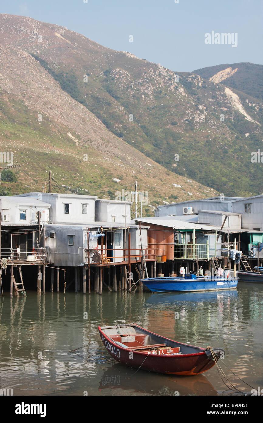 Fishing Boat In Stilt Village, Tai O, Lantau, Hong Kong - Stock Image
