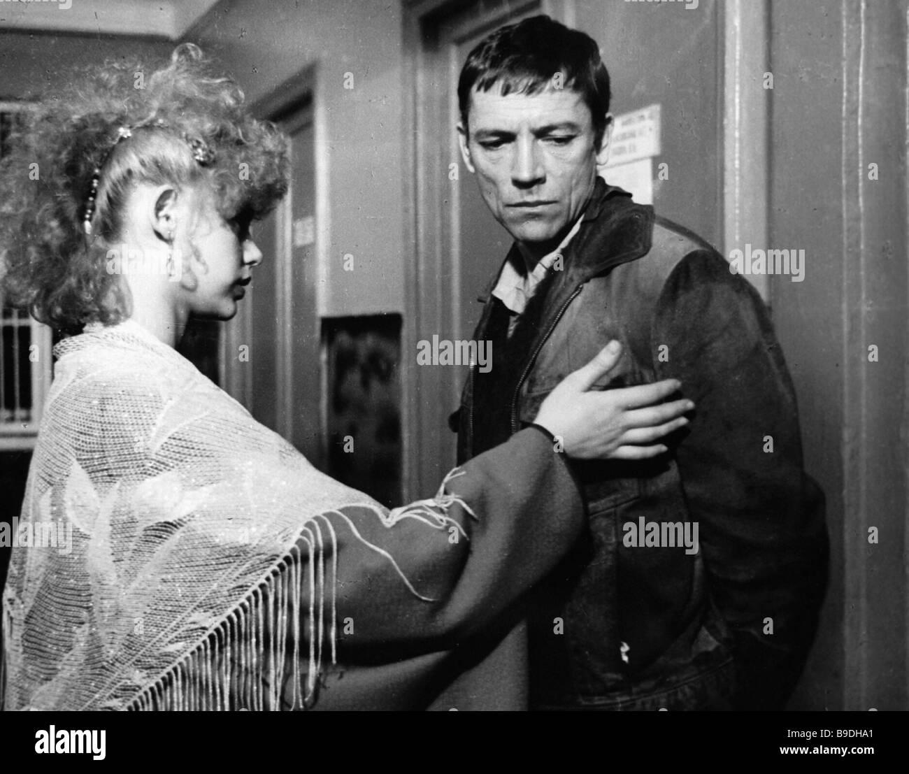 Olga Mashnaya as Olga left and Valery Priyomykhov as Vadim right in film Darling Beloved the Only One - Stock Image