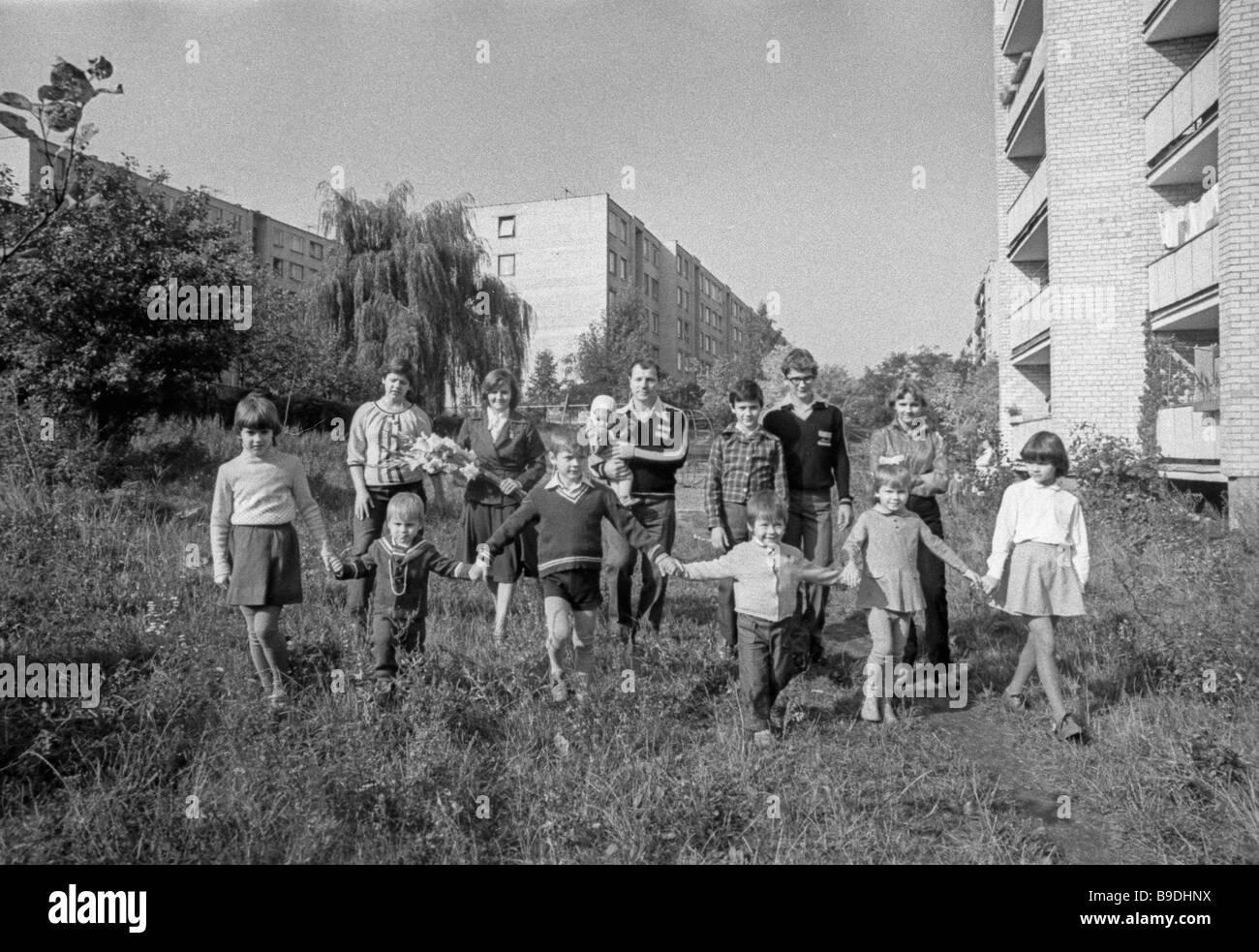 This family of Vilnius has eleven children - Stock Image
