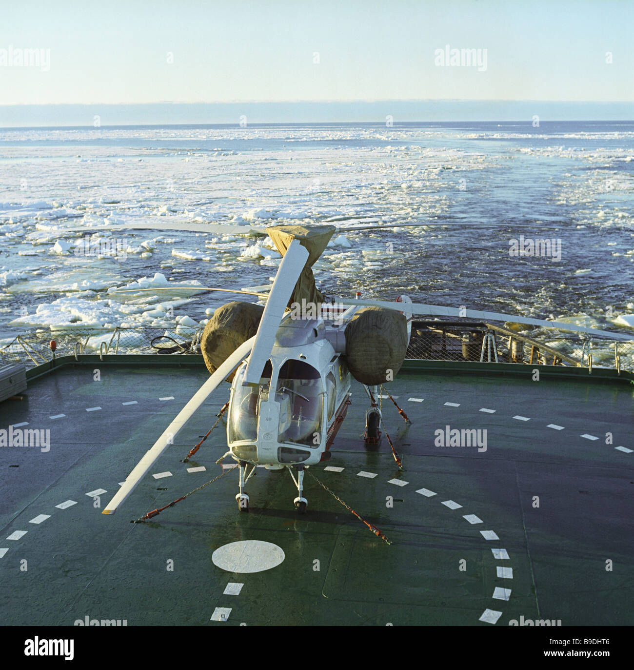 Helicopter for ice reconnaissance on the Kiev ice breaker - Stock Image