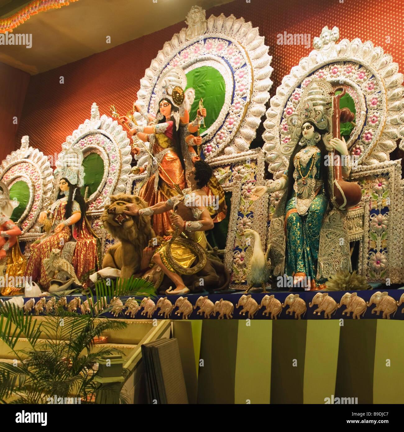 Goddess saraswati puja stock photos goddess saraswati puja stock statues of hindu gods in a durga puja pandal kolkata west bengal india altavistaventures Gallery