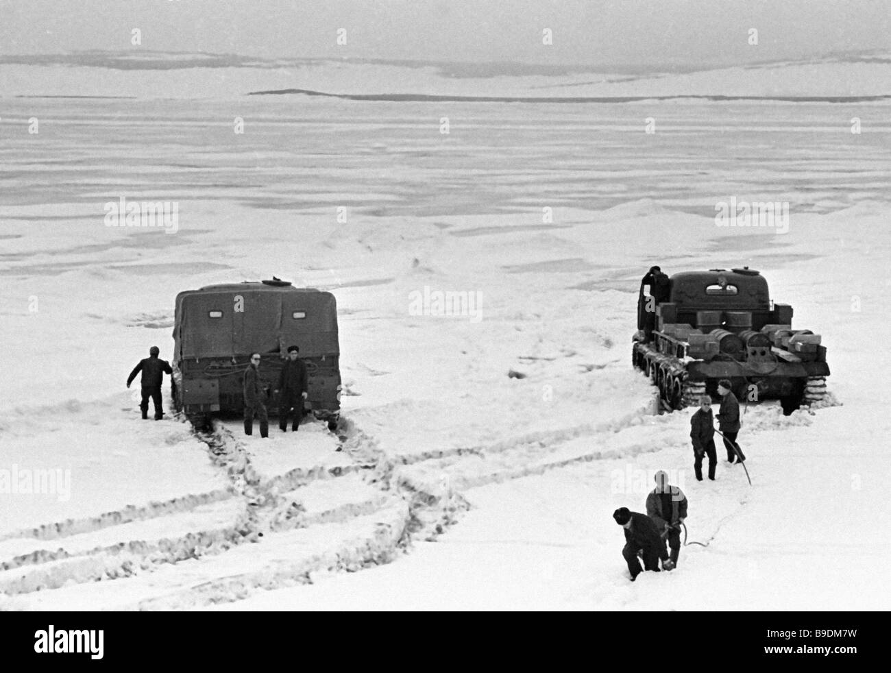 Off roaders cut their way through the Arctic snow Stock Photo