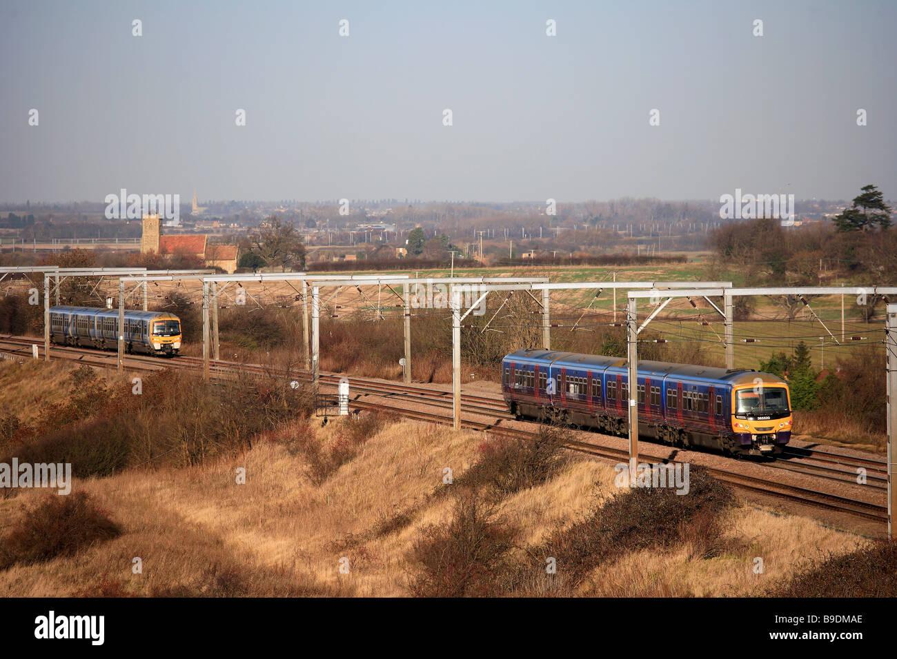 First Capital Connect 365520 365531 High Speed Electric Trains Woodwalton East Coast Main Line Railway Cambridgeshire Stock Photo