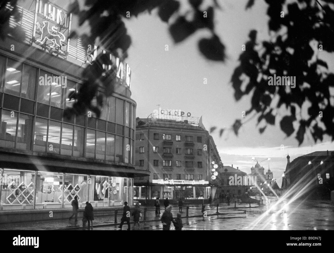 Pskov streets in the evening - Stock Image