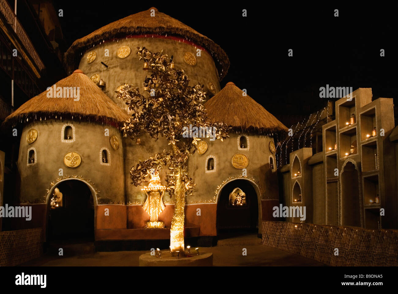 Puja pandal stock photos puja pandal stock images alamy durga puja pandal at night kolkata west bengal india stock image altavistaventures Choice Image