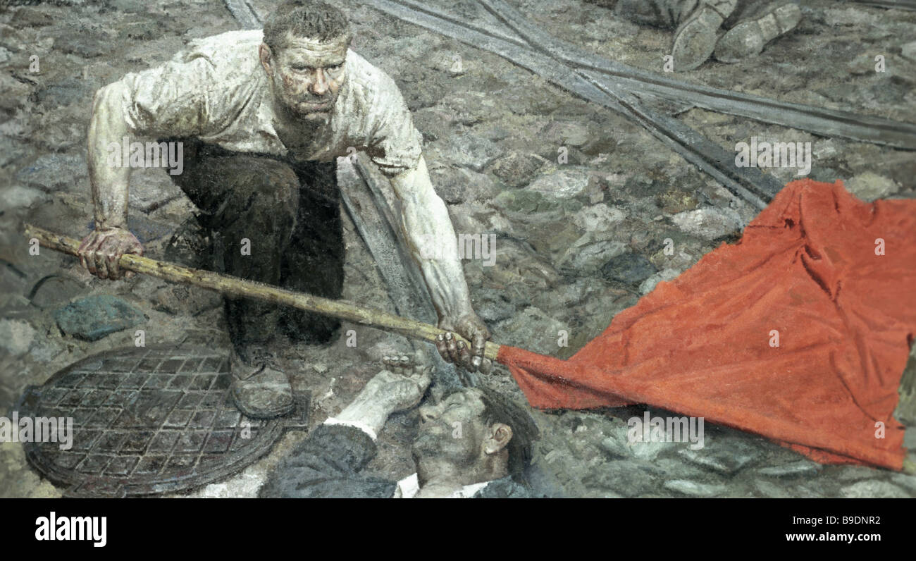Raising the Banner Central part of the triptych The Communists Gelii Korzhev State Russian Museum Reproduction - Stock Image