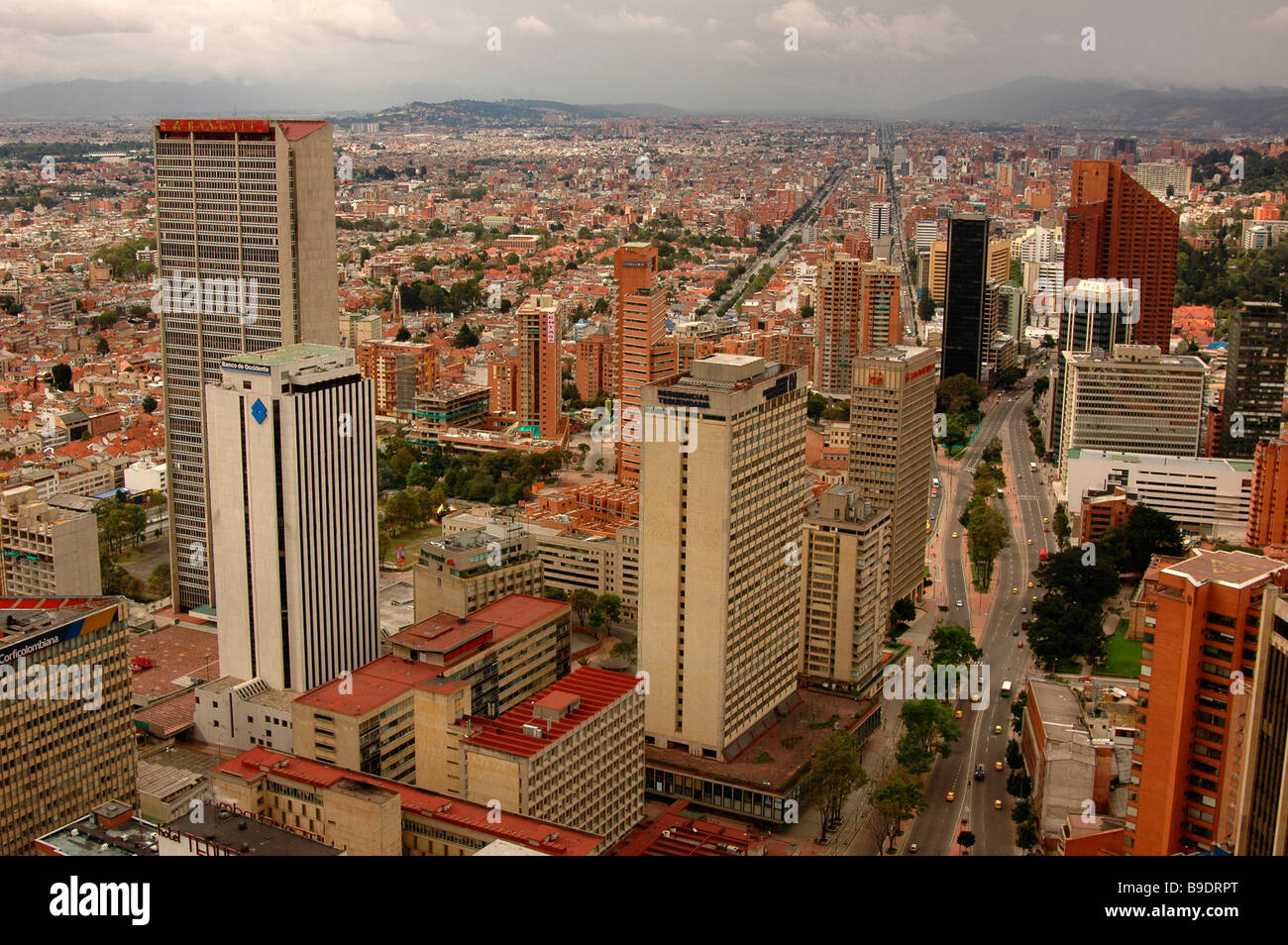 Skyscrapers buildings street megalopolis city highway Bogota Colombia south America offices business urban Carrera Stock Photo