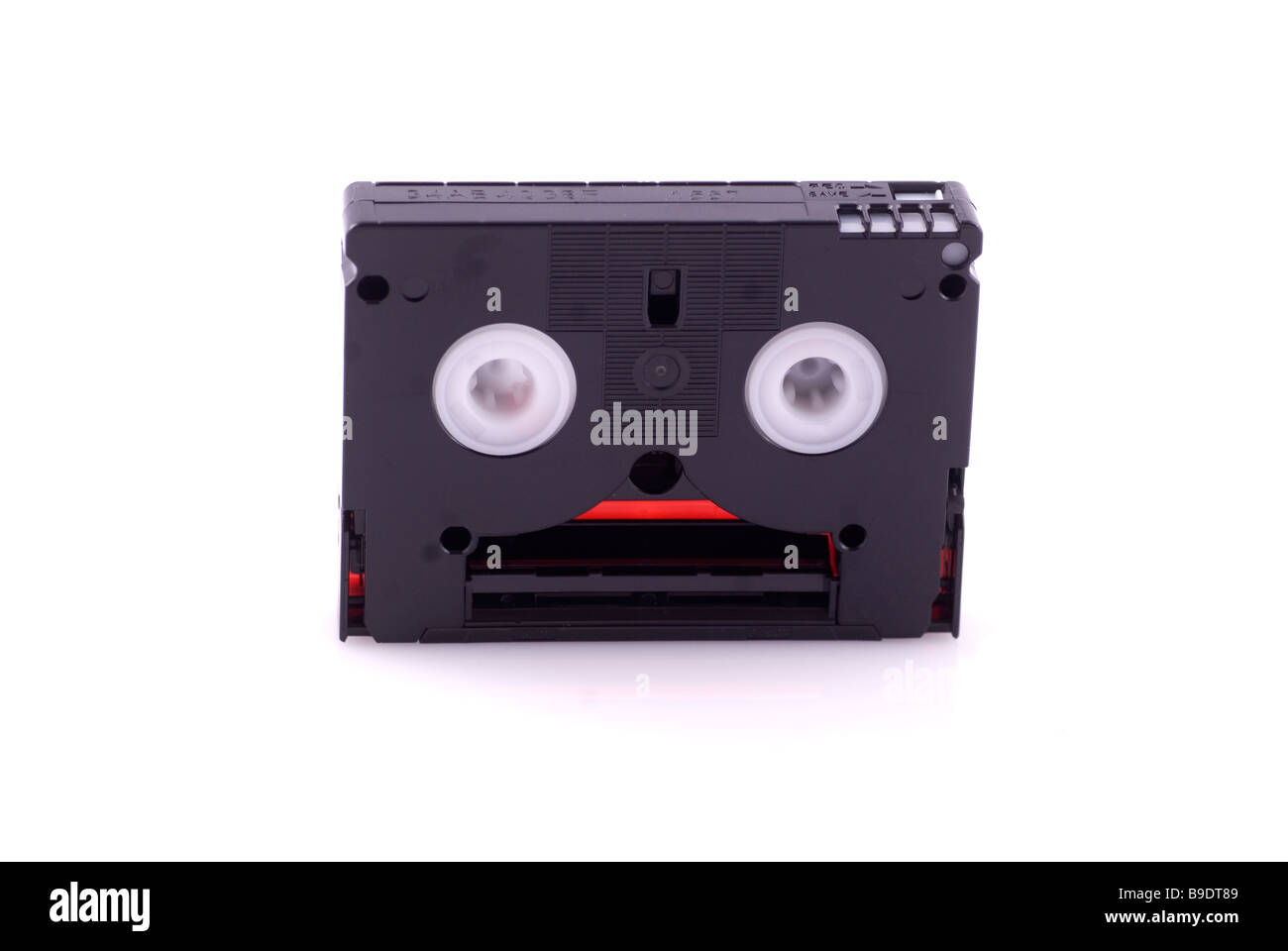 Close up of a mini DV video tape cutout on a white background - Stock Image
