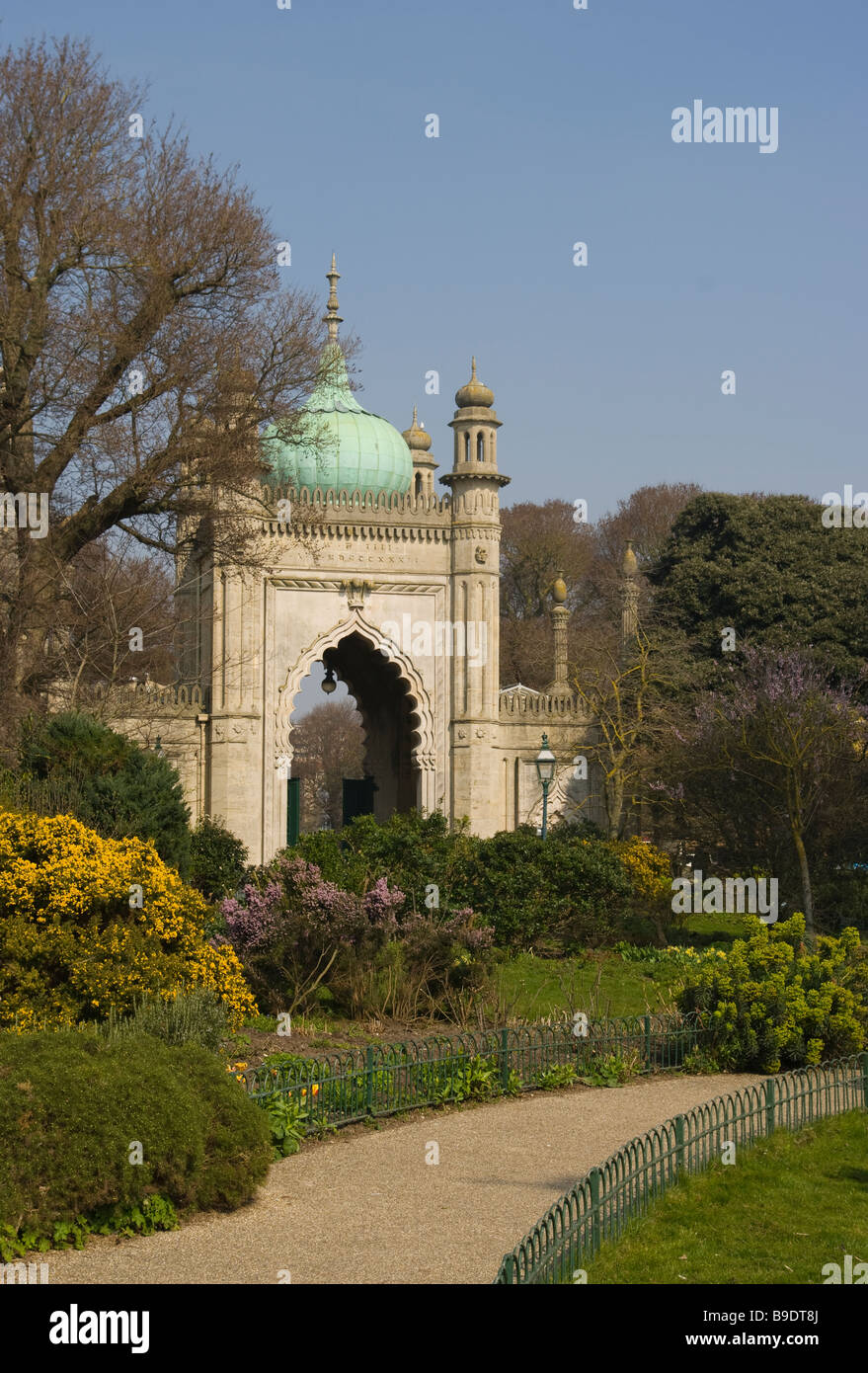 Entrance To The Royal Pavilion Gardens Brighton East Sussex England - Stock Image