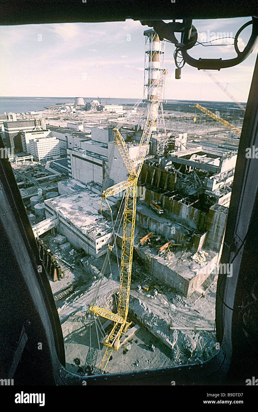 Bird s eye view of Chernobyl nuclear power plant after explosion - Stock Image