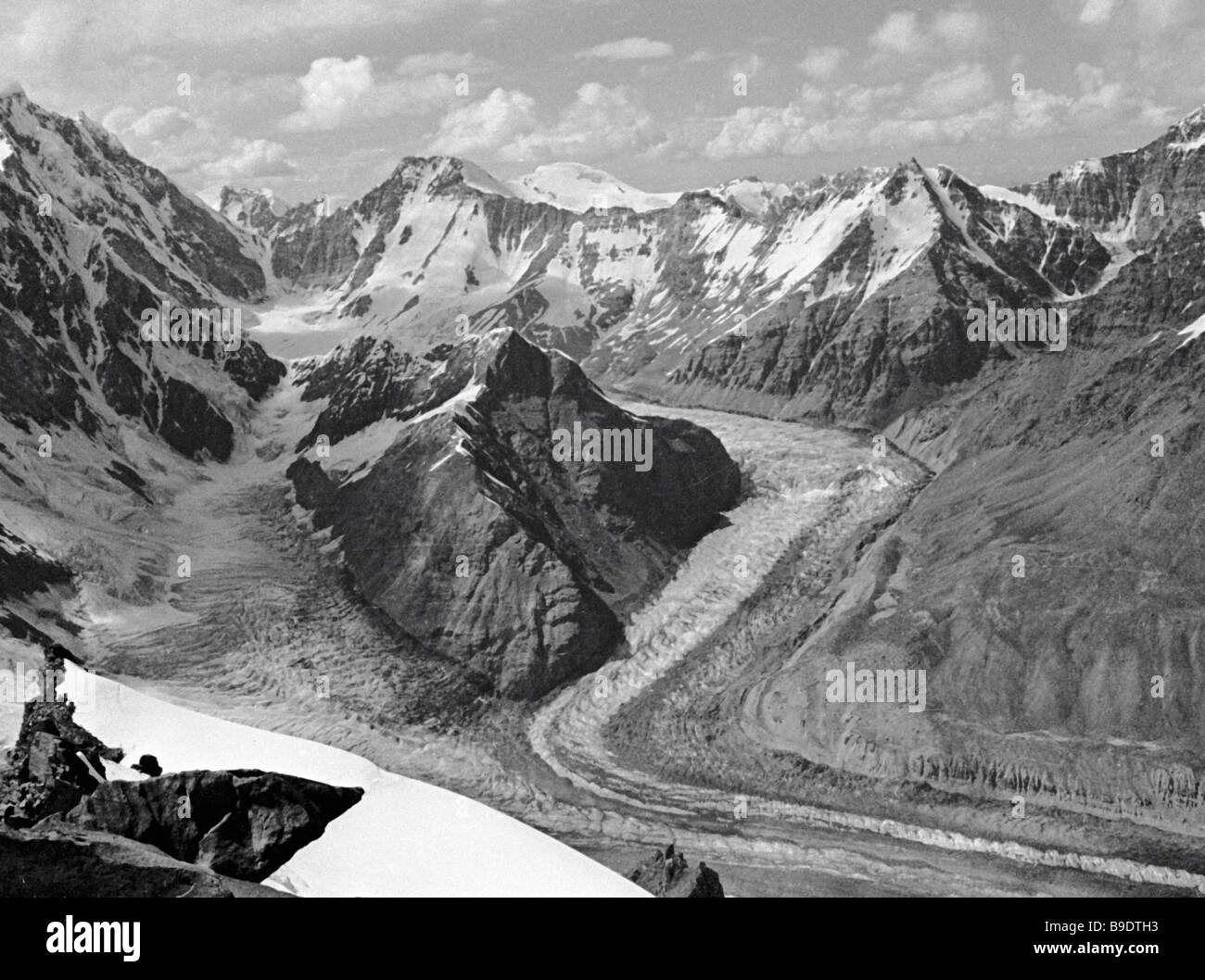 The firn plateau nearby the Peak of Communism the Pamirs - Stock Image