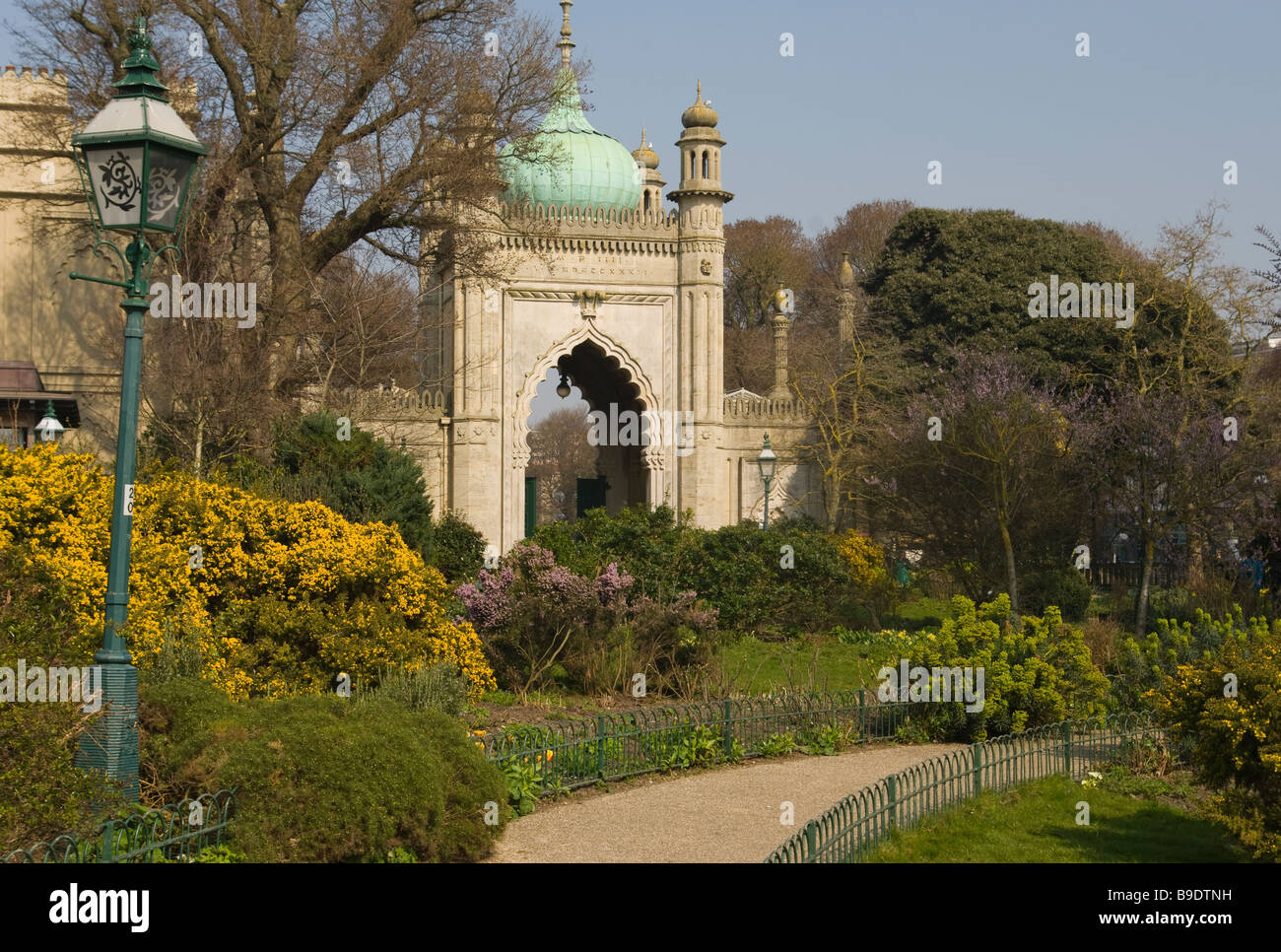 Entrance Gate To The Royal Pavilion Gardens Brighton East Sussex England - Stock Image