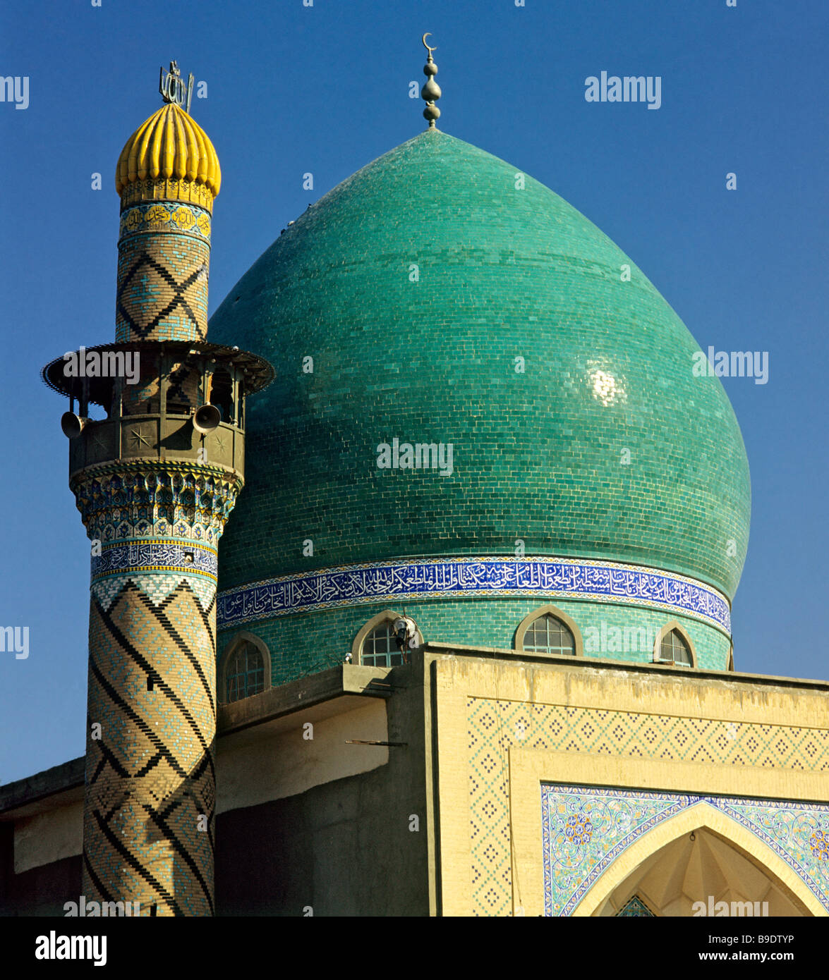 Green-domed mosque, minaret tower, Baghdad, Iraq, Middle East - Stock Image