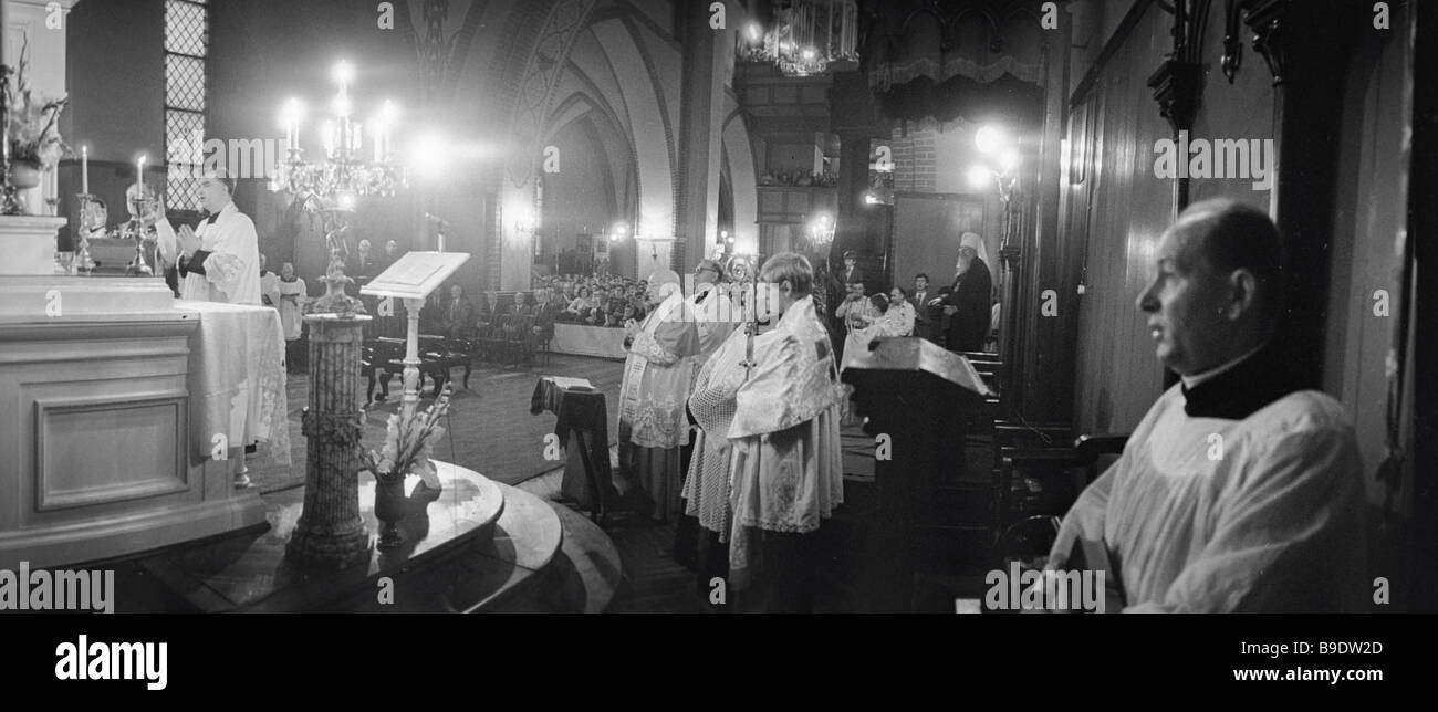 Divine service in St Jacob s cathedral - Stock Image