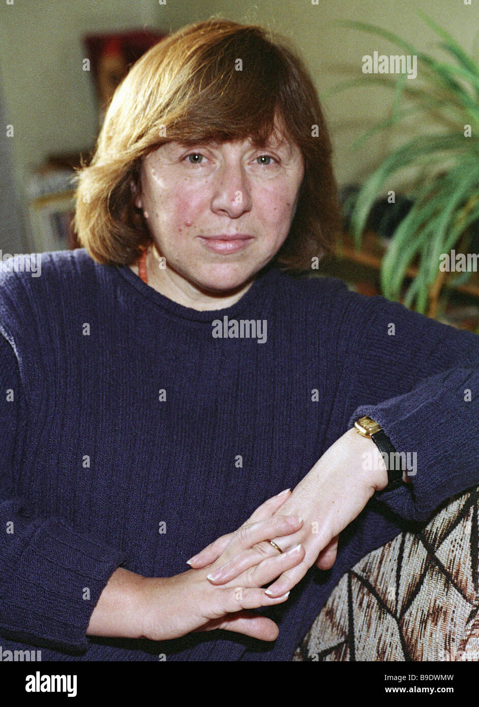 Belarusian writer Svetlana Aleksiyevich who wrote the book The Face of War Is Not Feminine - Stock Image