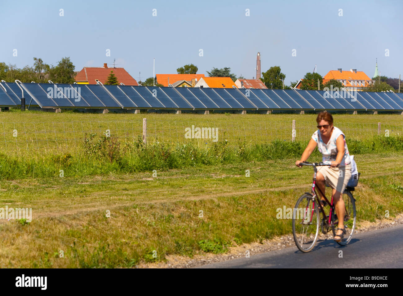 solar plant Marstal Ærø island Funen Denmark - Stock Image