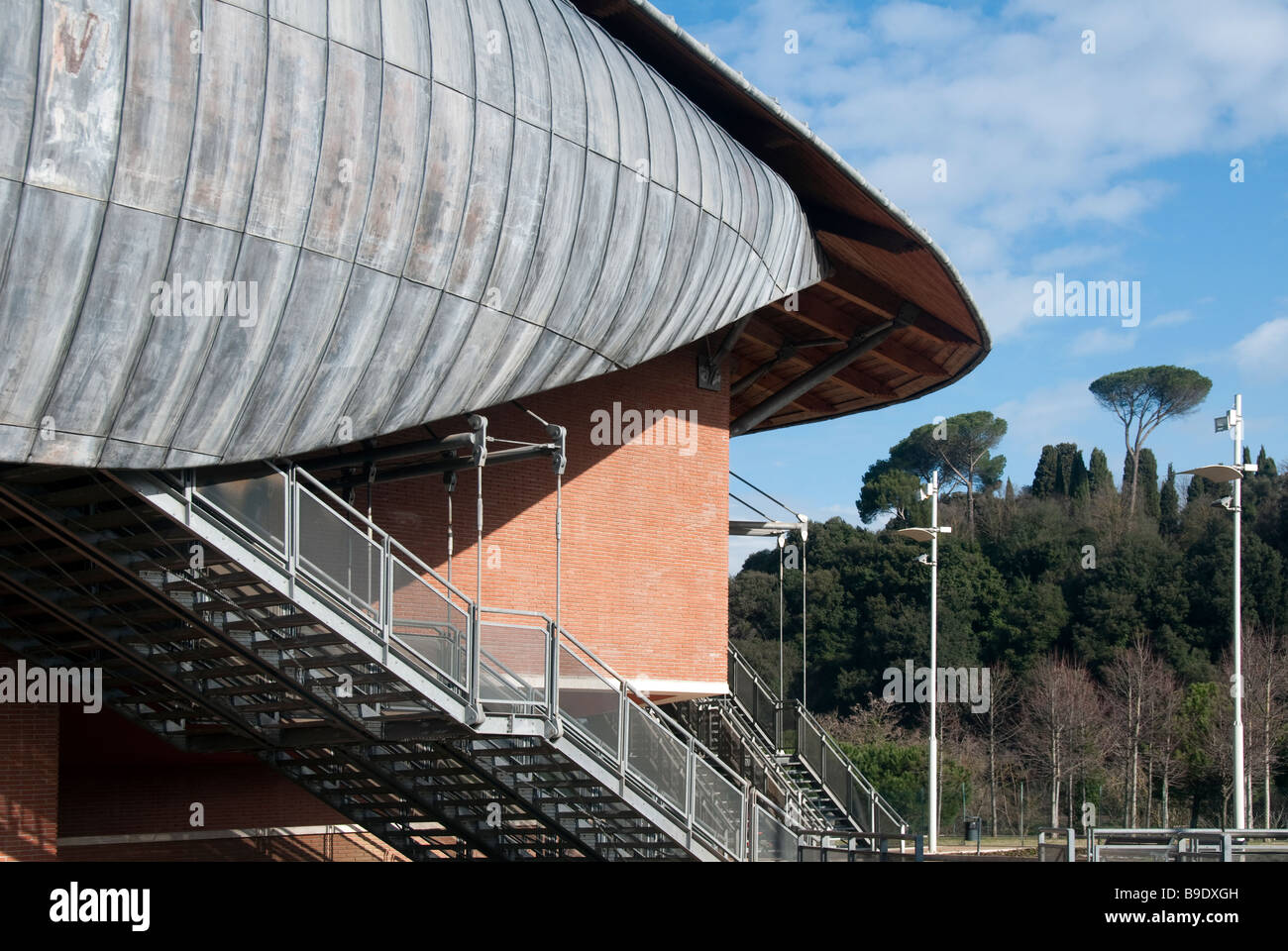 Detail of the lead roof of The Auditorium, concert hall in the Parco della Musica designed by the architect Renzo Stock Photo