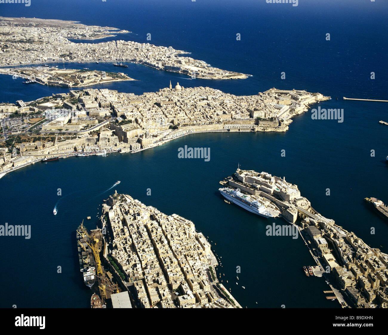 Valletta, aerial view, historic centre, Mediterranean, Malta - Stock Image