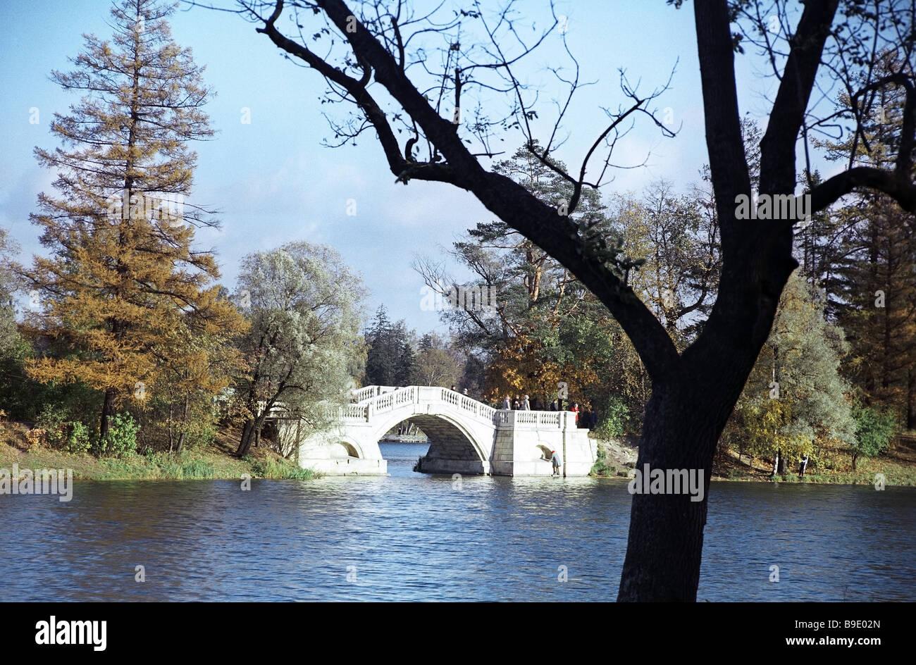 Carp s Bridge on Long Island in Gatchina Park 1793 - Stock Image