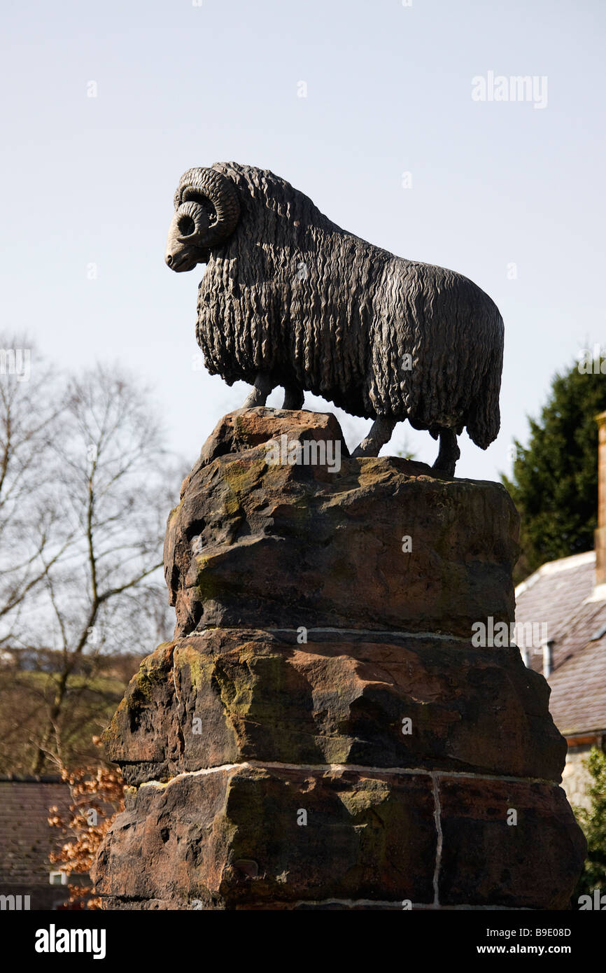Water fountain with Ram on top at Moffat. Dumfriesshire. Stock Photo