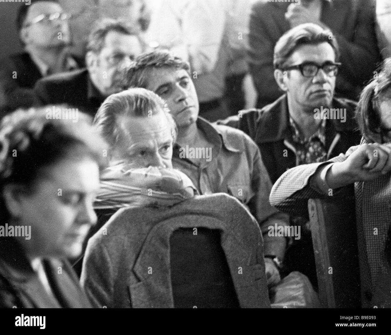 Oleg Yefremov second from left People s Artist of the USSR and chief director of the Gorky Moscow Academic Art Theater - Stock Image