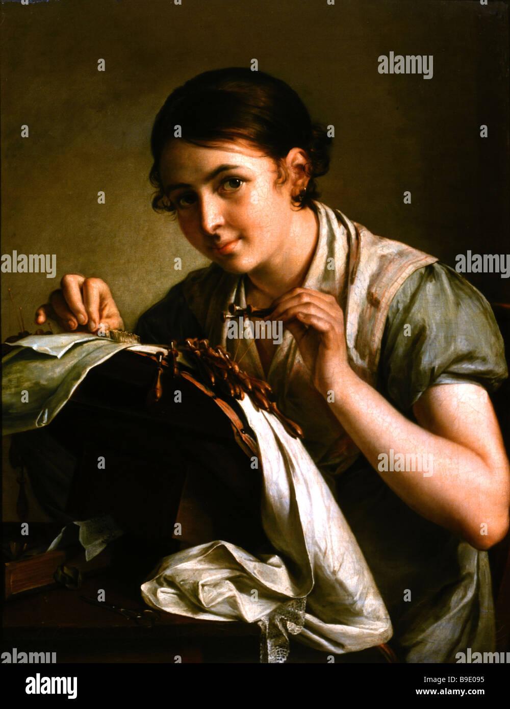 Vassily Tropinin 1776 1857 The Lacemaker 1823 State Tretyakov Gallery Stock Photo