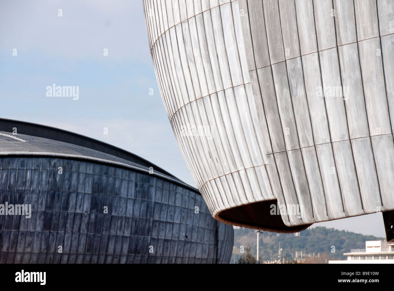Detail of the lead roof of The Auditorium, concert hall in the Parco della Musica designed by the architect Renzo Piano Stock Photo