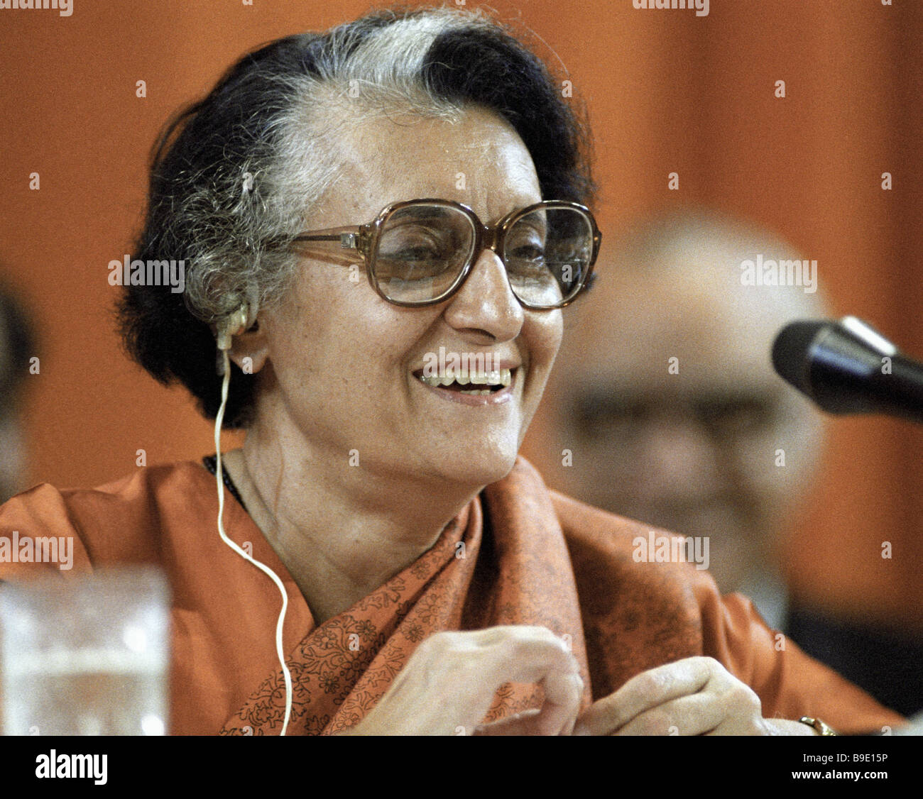 Indian Prime Minister Indira Gandhi giving an interview during her visit to the Soviet Union Stock Photo