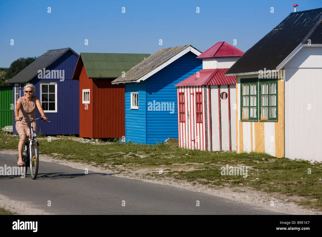 Beach Huts Ærøskøbing Ærø island Funen Denmark - Stock Image