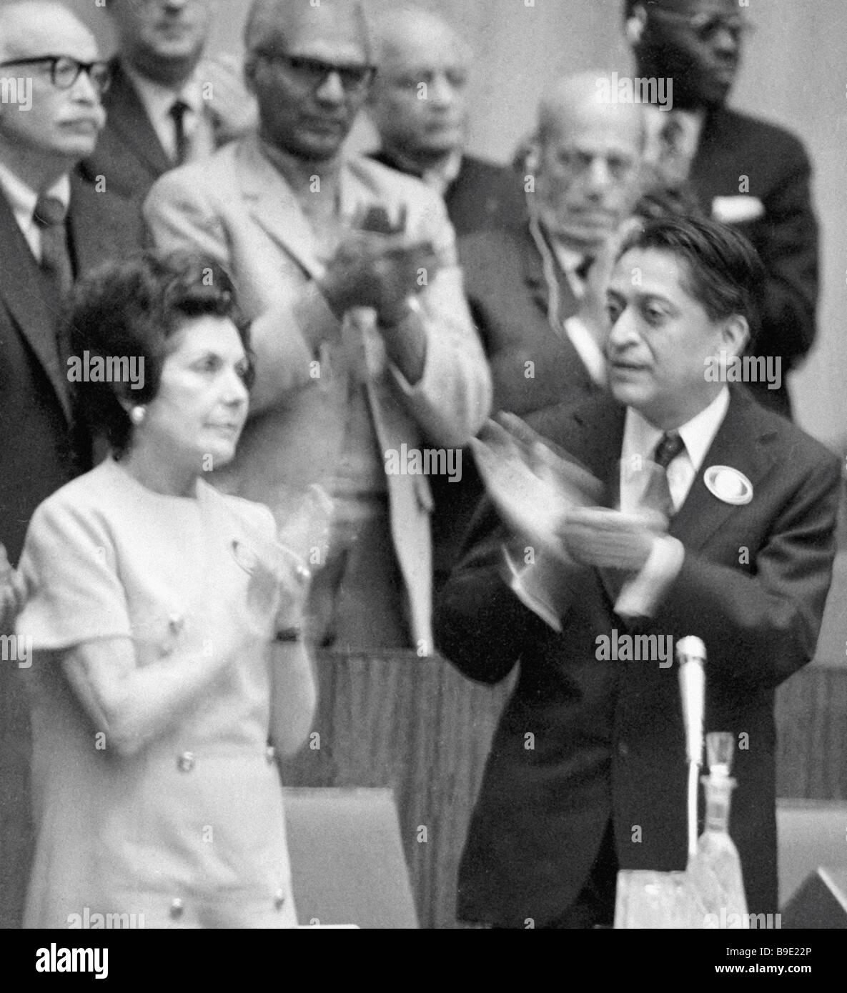 General Secretary of the World Peace Congress Romesh Chandra right and Salvador Allende s widow Ortencia Allende - Stock Image