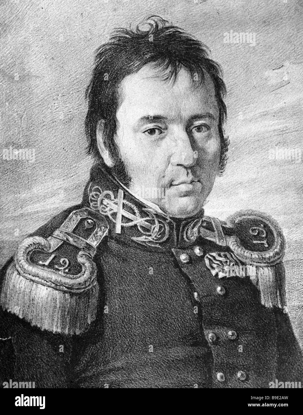 Portrait of the Russian navigator Vasily Golovnin by an unknown artist reproduction - Stock Image