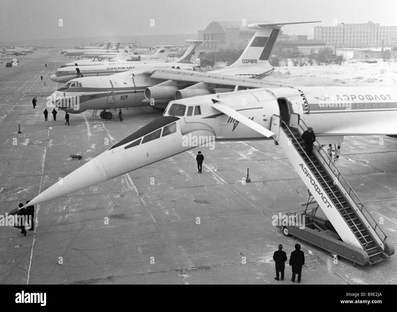 Civilian aircraft on display at an aviation equipment show in Sheremetyevo airport - Stock Image