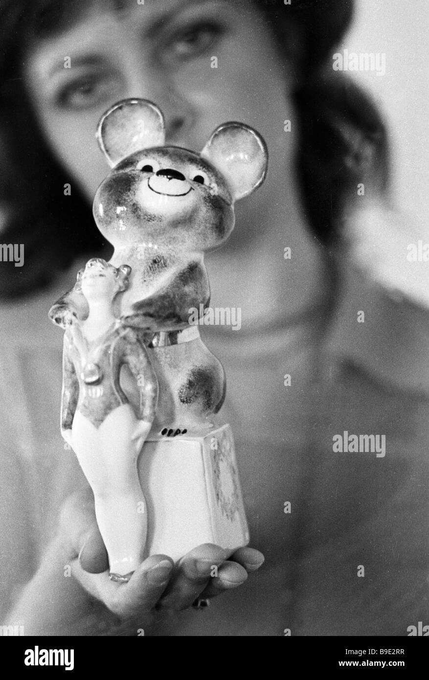 Olympic mascot Mishka a memento produced by Dulevo Pravda Newspaper Porcelain Factory - Stock Image