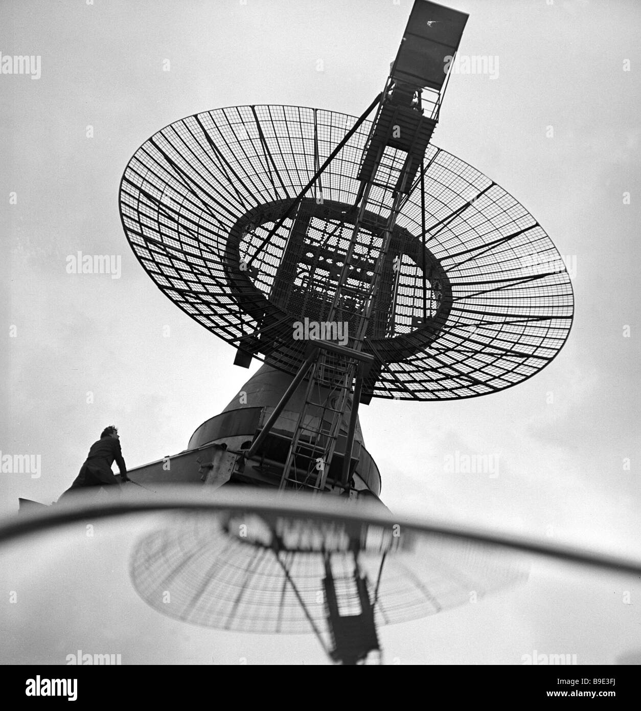 The openwork 10 meter antenna of the Valdon observatory s radio telescope - Stock Image