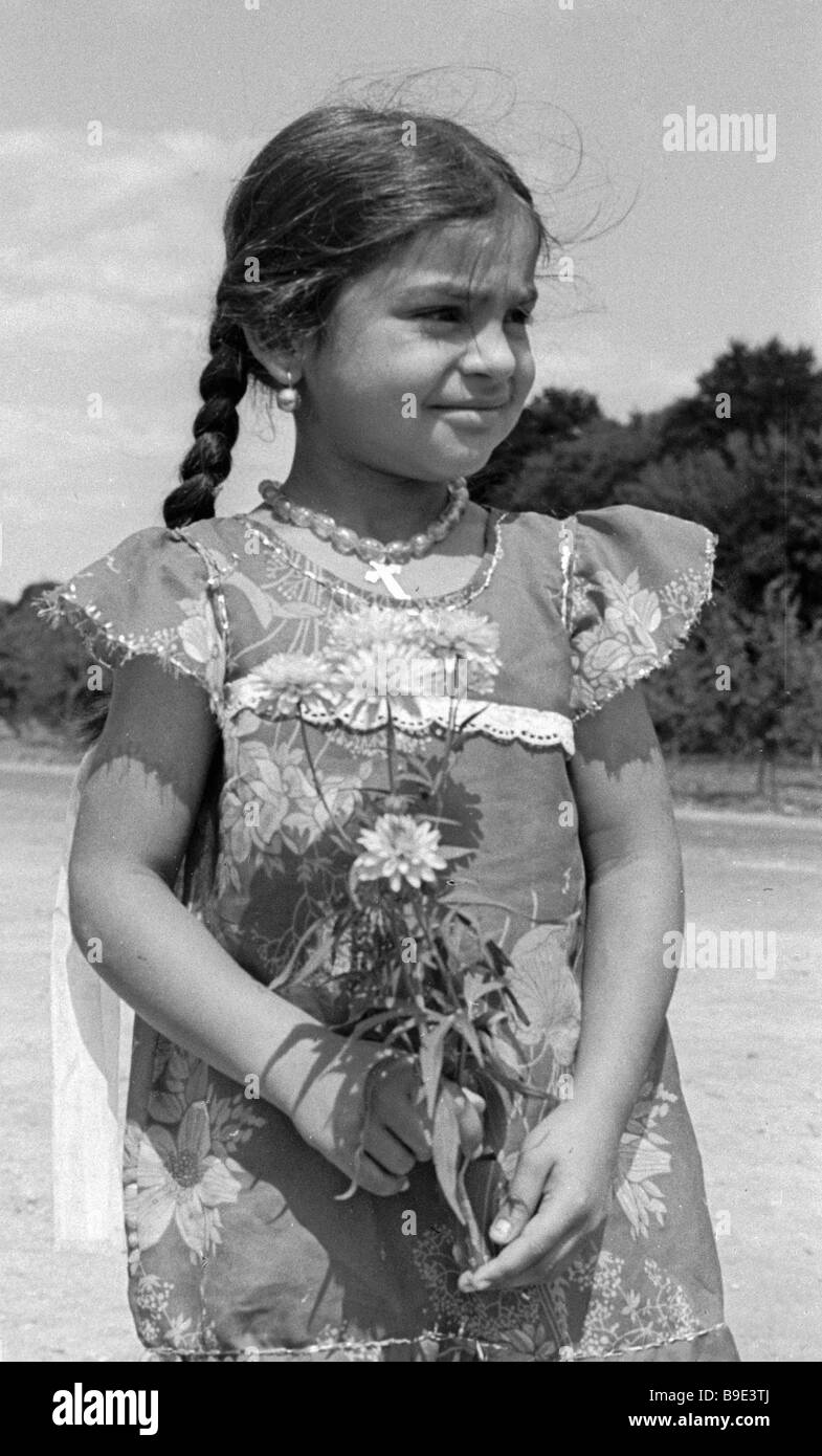 First grader Olga Byrsan from a settled Gypsy family Stock Photo
