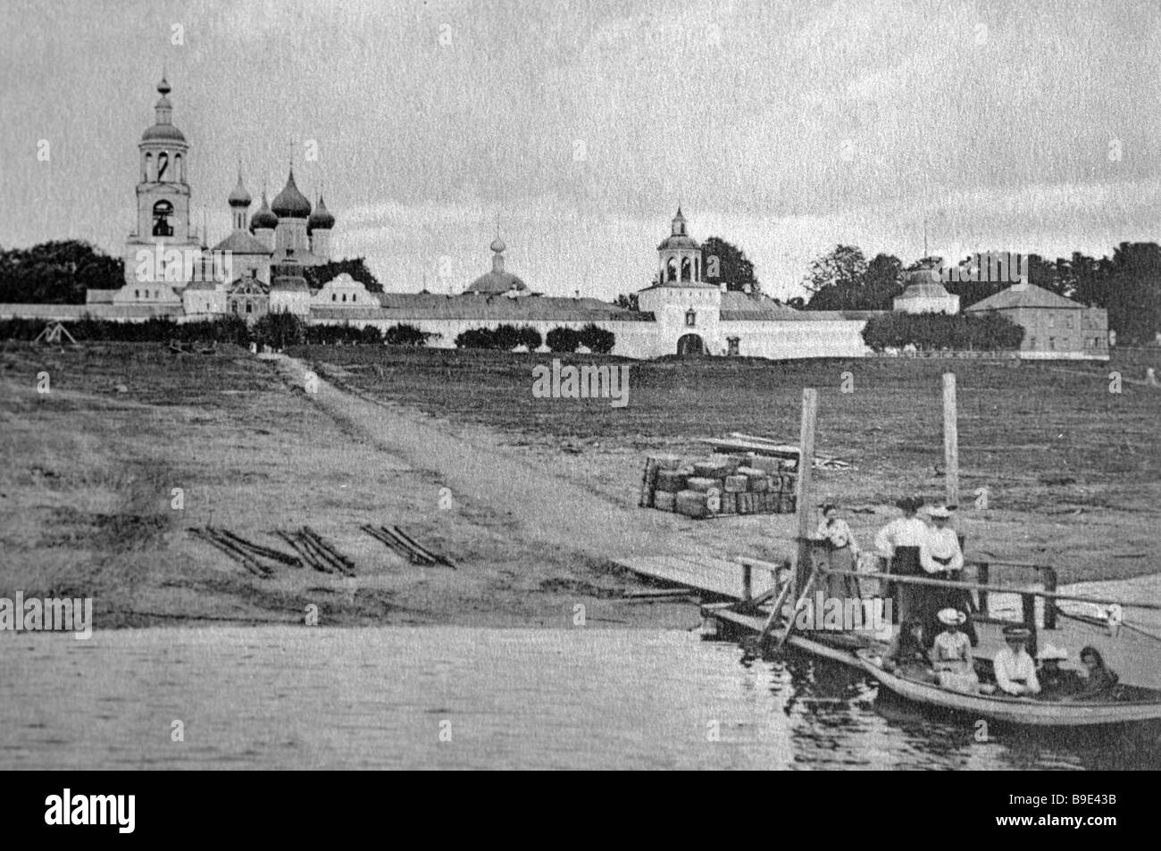 Reproduction of an early twentieth century postal stamp showing the Tolgosky Monastery in Yaroslavl - Stock Image