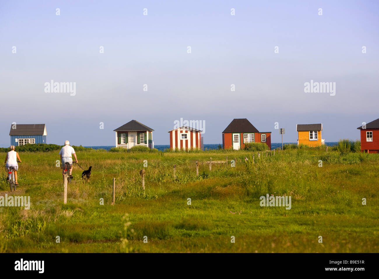 beach huts Aeroskobing Ærø island Funen Denmark - Stock Image