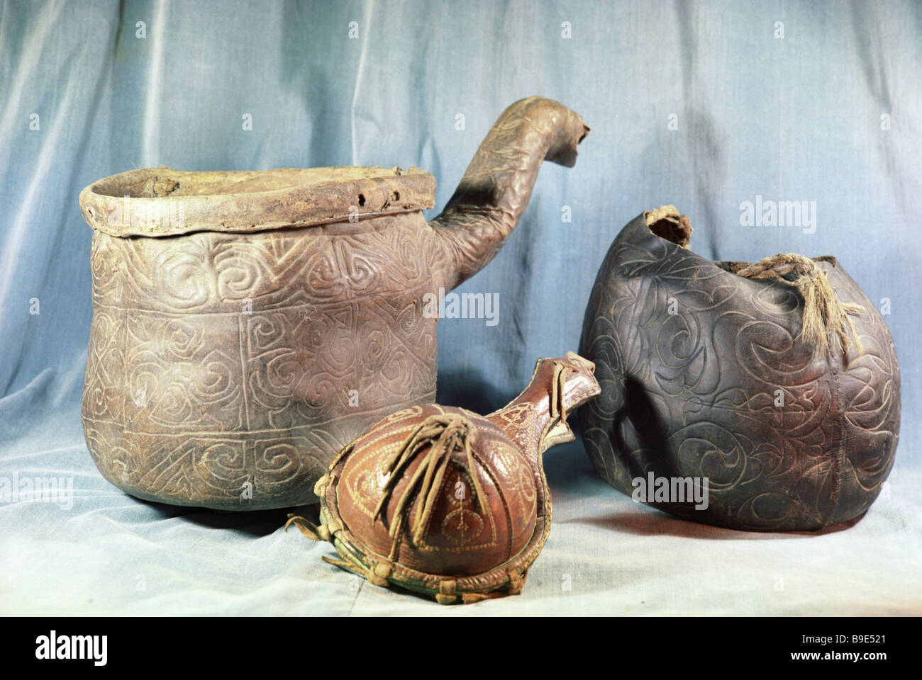 Stamped leather vessels from State Oriental Art Museum collection - Stock Image