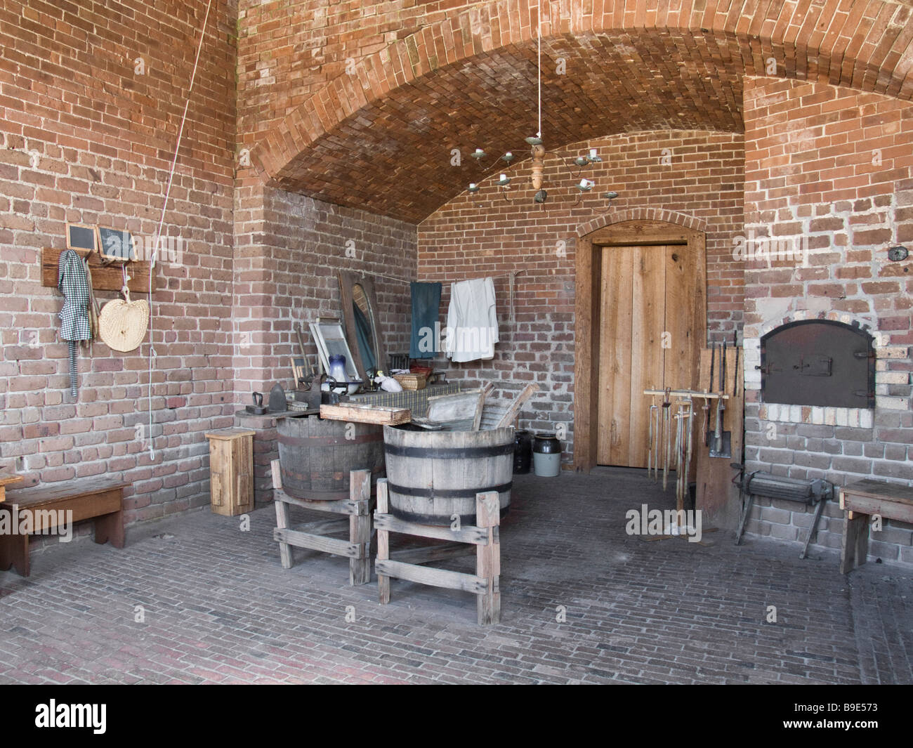 Fort Clinch State Park Florida historical site laundry - Stock Image