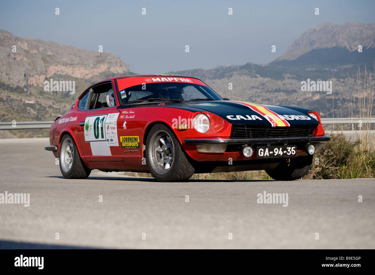 Red 1970 Datsun 240Z Racing in the Classic car rally Mallorca Stock ...