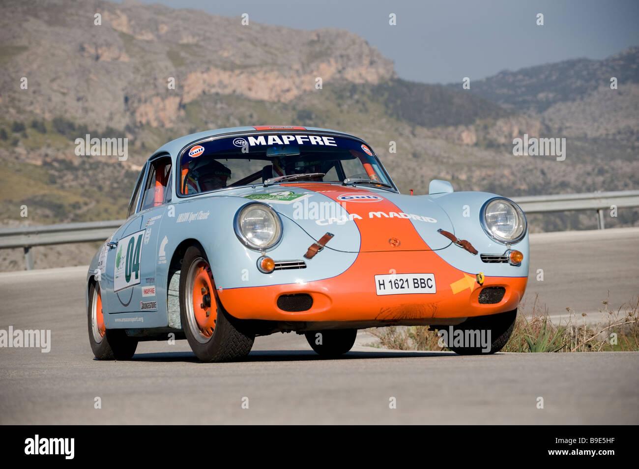 1962 porsche 356 Racing in the Classic car rally Mallorca