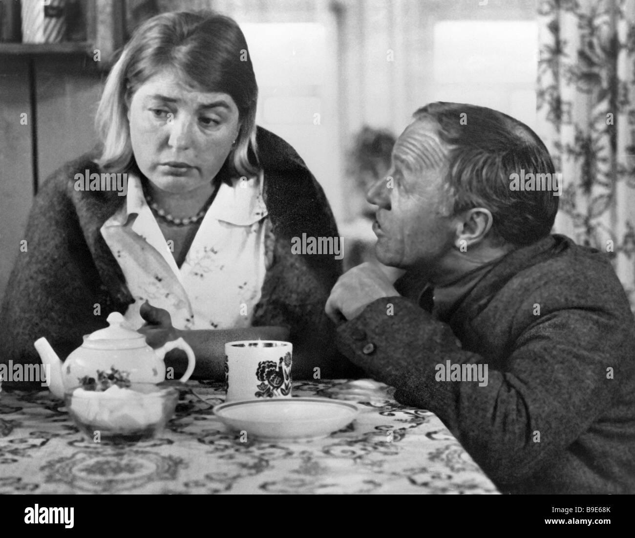 Lidiya Fedoseeva Shukshina left as Veselova and Mikhail Ulyanov right as Nikolai in the movie Call me to the shining - Stock Image