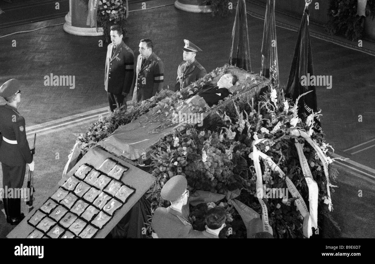 Coffin with the body of prominent Soviet political figure Andrei Gromyko in the Central Soviet Army House Stock Photo