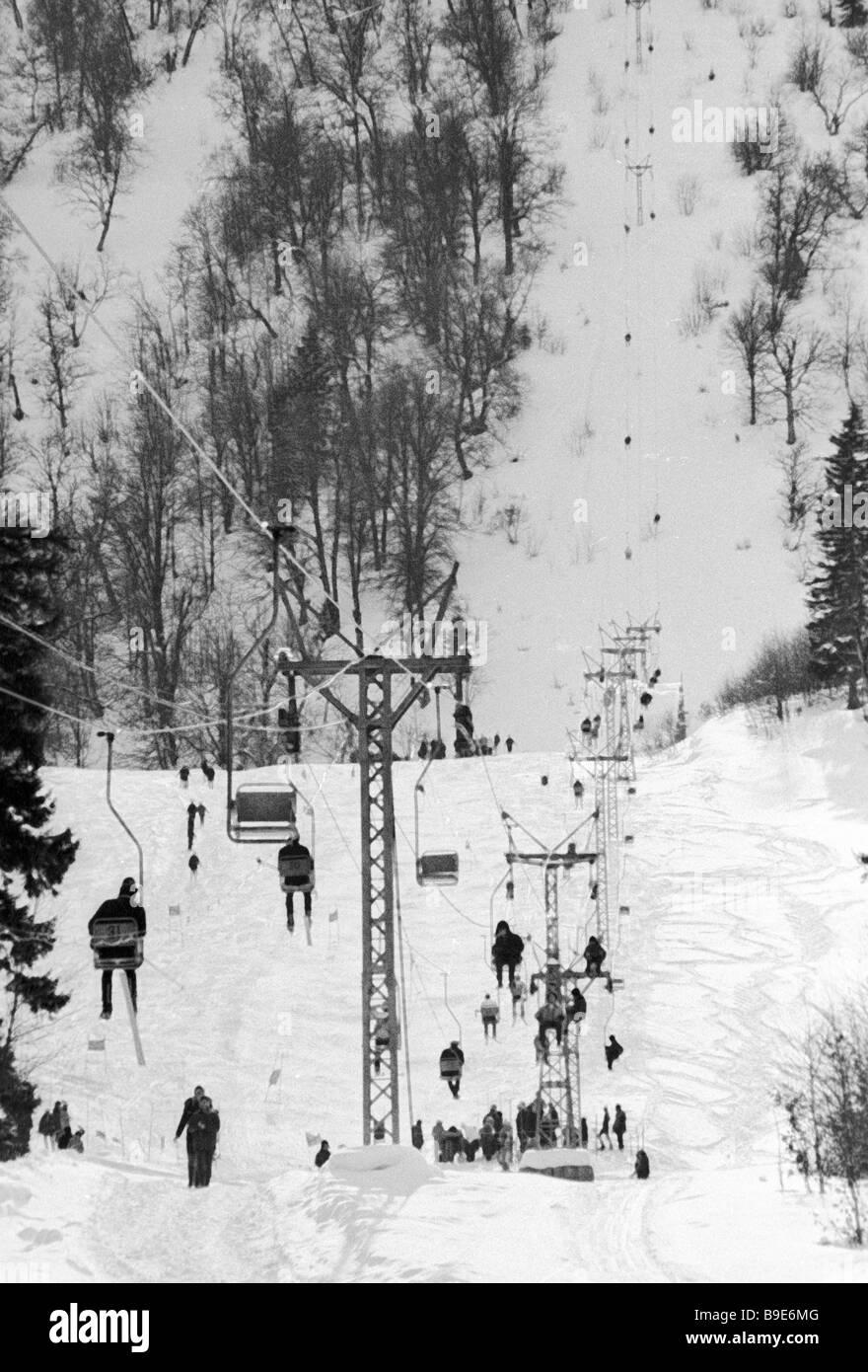 Ski lift It lifts 300 people per hour at a height 2 000 km Bakuriani settlement - Stock Image