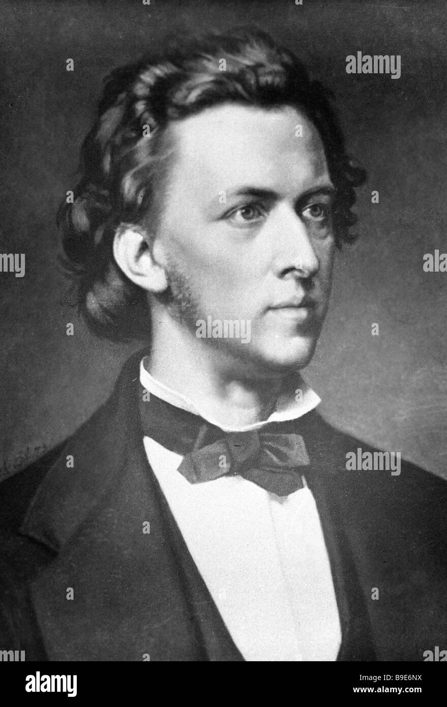 Reproduction of a portrait of Frederic Chopin by an unknown painter - Stock Image
