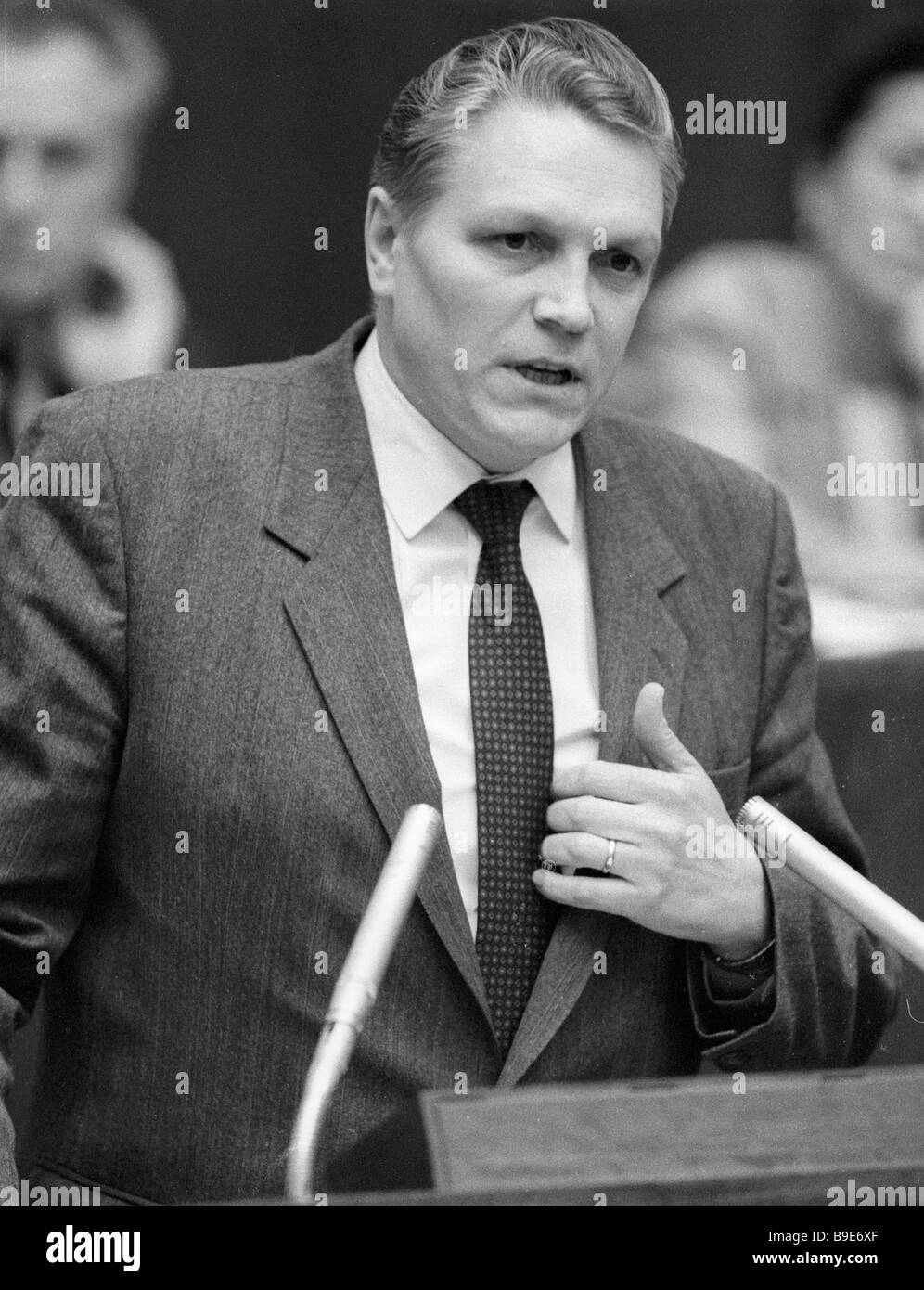 Nikolai Pugin Soviet Minister of the Automotive and Agricultural Machinery Industries attends first session of the - Stock Image