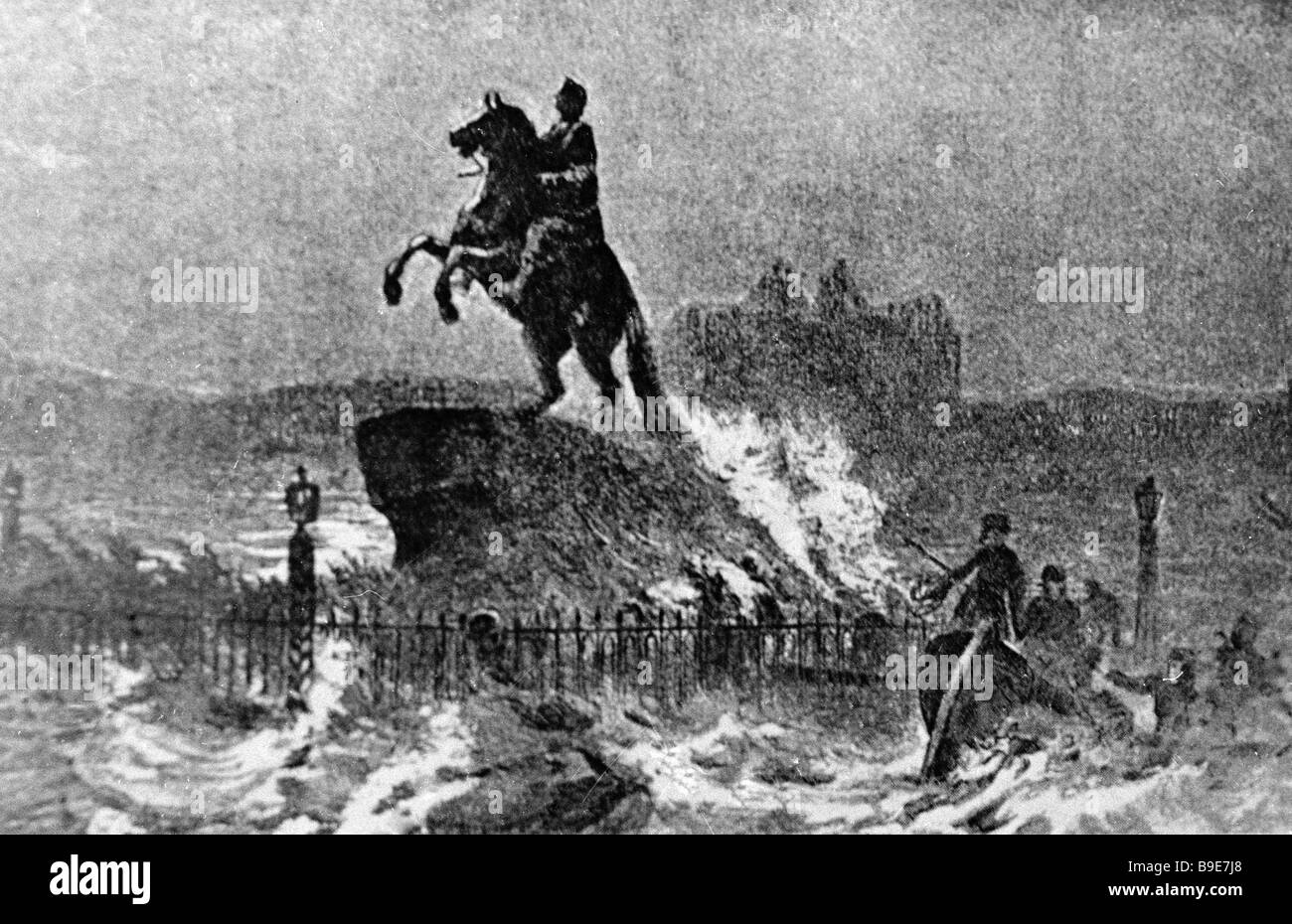 This old print represents the most disastrous of St Petersburg floods of 1824 - Stock Image