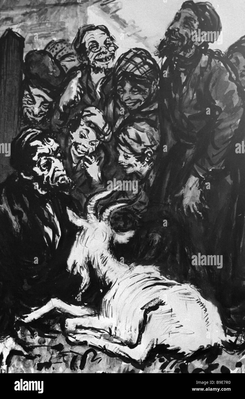 Reproduction of Grigory Inger s illustration to Sholom Aleihem s writings - Stock Image