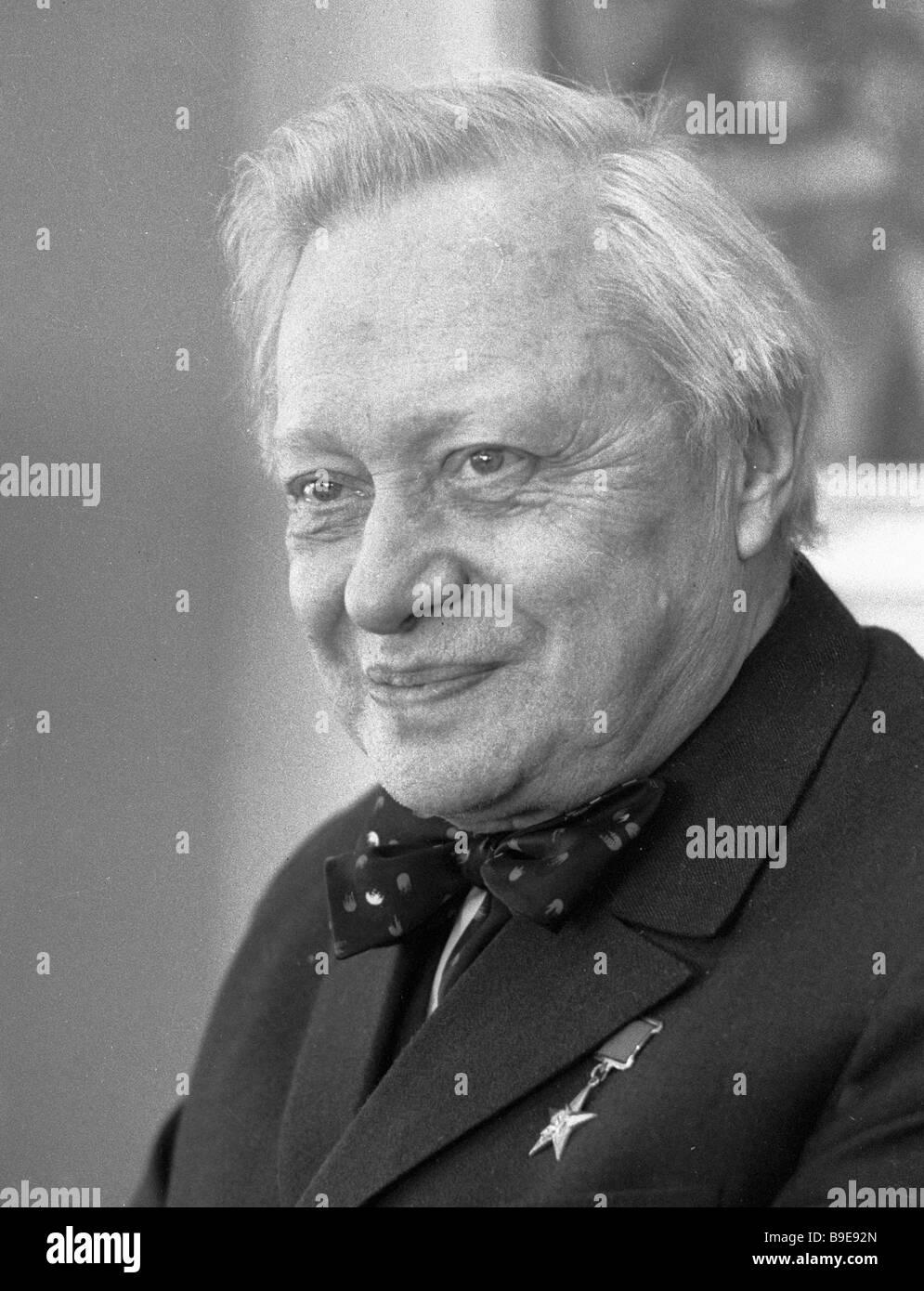 Merited Soviet actor Sergey Obraztsov - Stock Image
